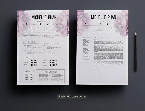 elegant 1 page cv template    resume template   cover letter    modern cv design    creative cv