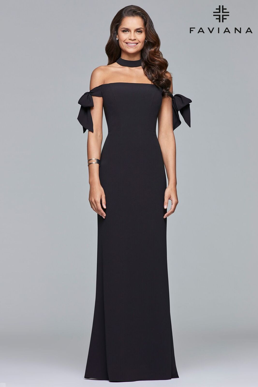 e74dd9b6dafab Be a trend setter in one of our red carpet prom dresses. FAVIANA S10075  Long crepe off-shoulder dress with bow tie arm bands and choker necklace  #bridesmaid ...