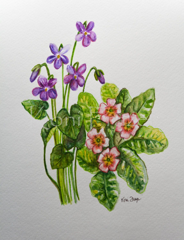 Violet And Primrose February Birthday Flower Original Watercolor