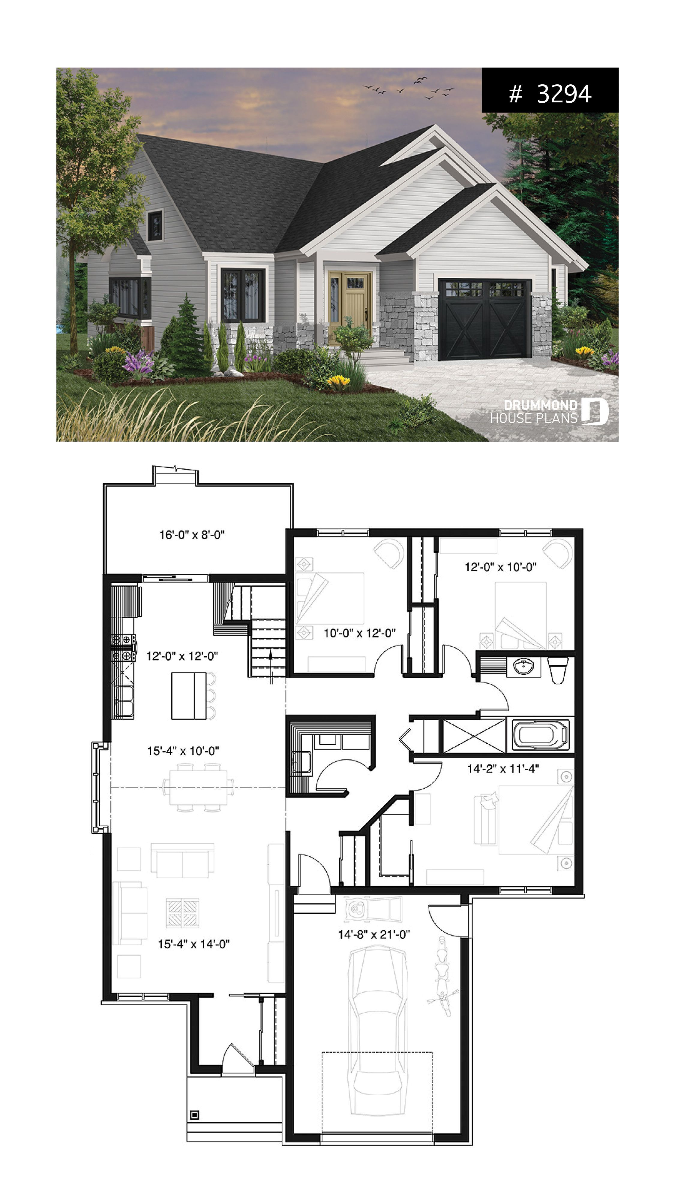 3 Bedroom One Story Home With Garage Open Floor Plan Concept Cathedral Ceiling Open Concept House Plans Beautiful House Plans Craftsman House Plans