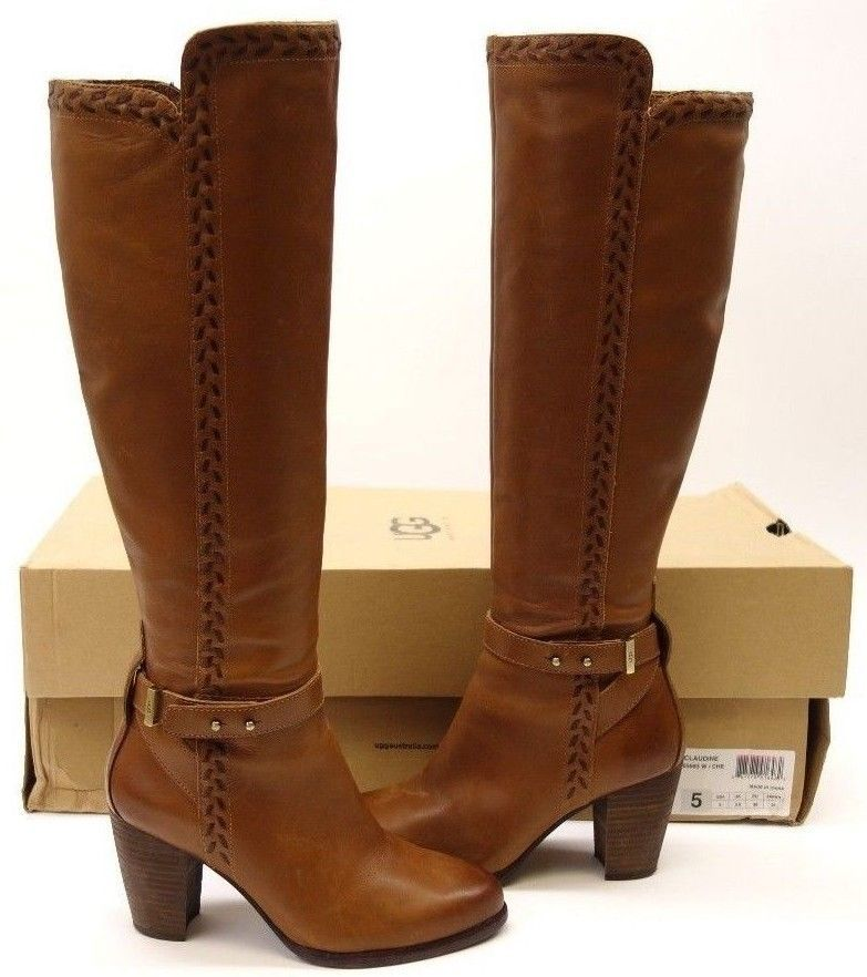 db00316a3ee New UGG Australia Womens Chestnut Brown Knee High Claudine Heeled ...