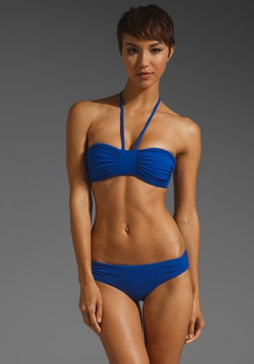 SUSANA MONACO Gathered Bikini Top in Sapphire at Revolve ...