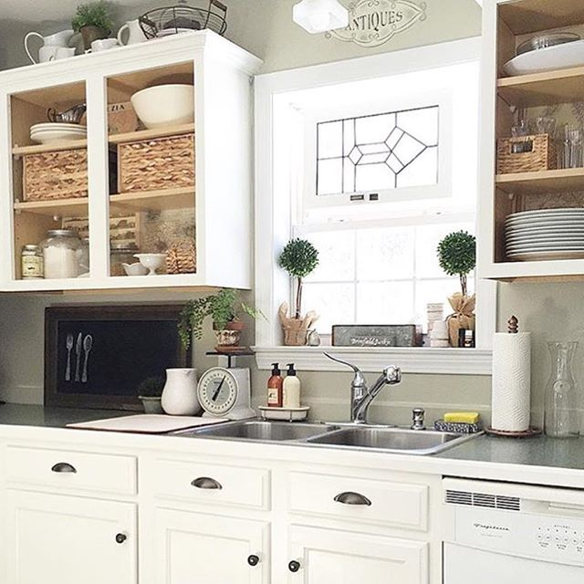 I Love This Take On Open Shelving By The Newenglandnesters Just Remove Cabinet Doors He Diy Kitchen Cabinets Makeover Kitchen Cabinet Doors Kitchen Tile Diy