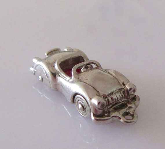 Silver Moving Convertible Car Enamel Charm by TrueVintageCharms