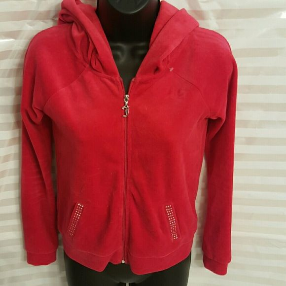 Juicy couture hoodie Red, sparkle on the pockets, excellent condition Juicy Couture Tops Sweatshirts & Hoodies