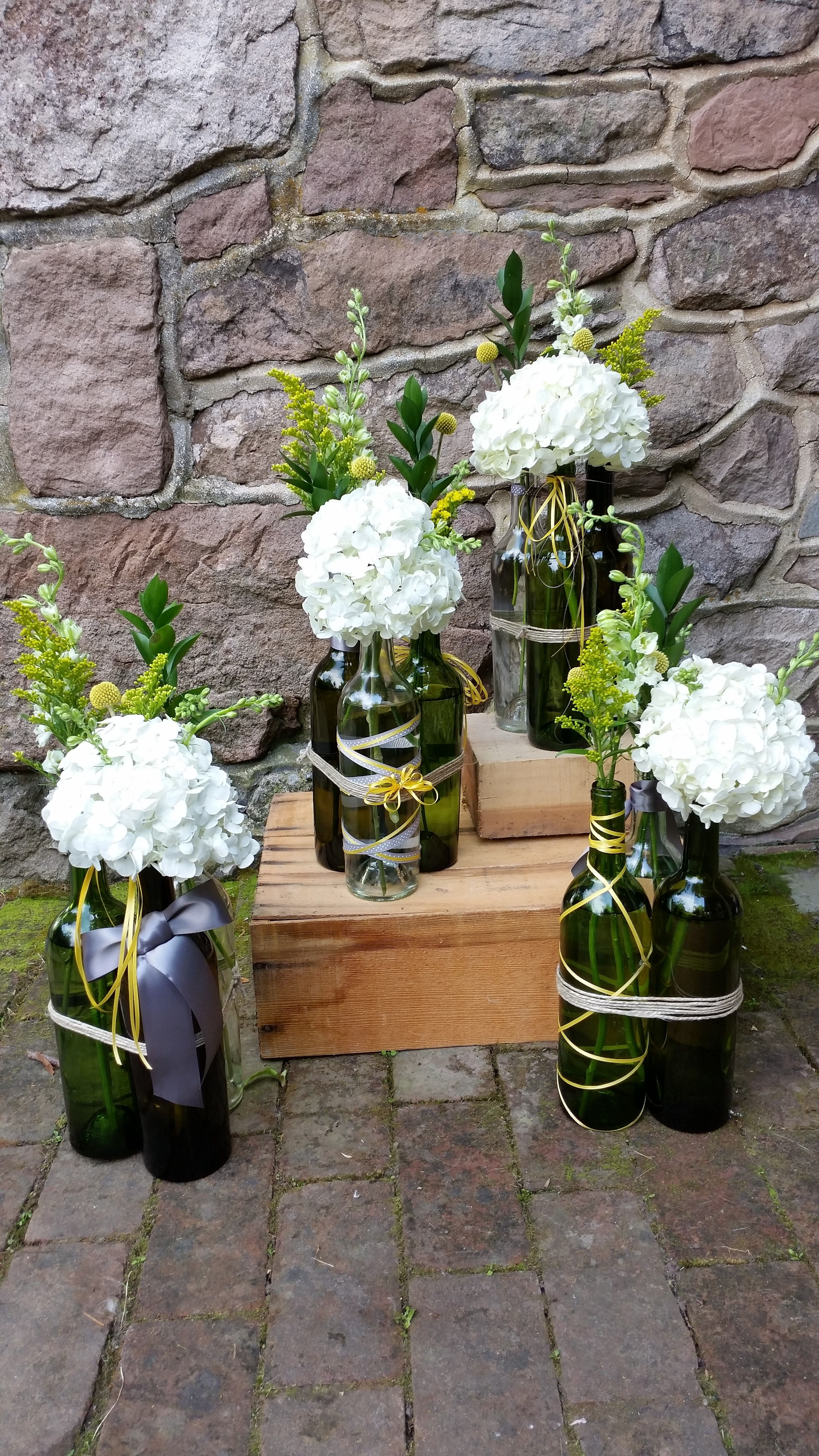 Blossom Bliss Florist Wedding Centerpiece Reclaimed Wine Bottle W Hydrangeas Yellow Filler
