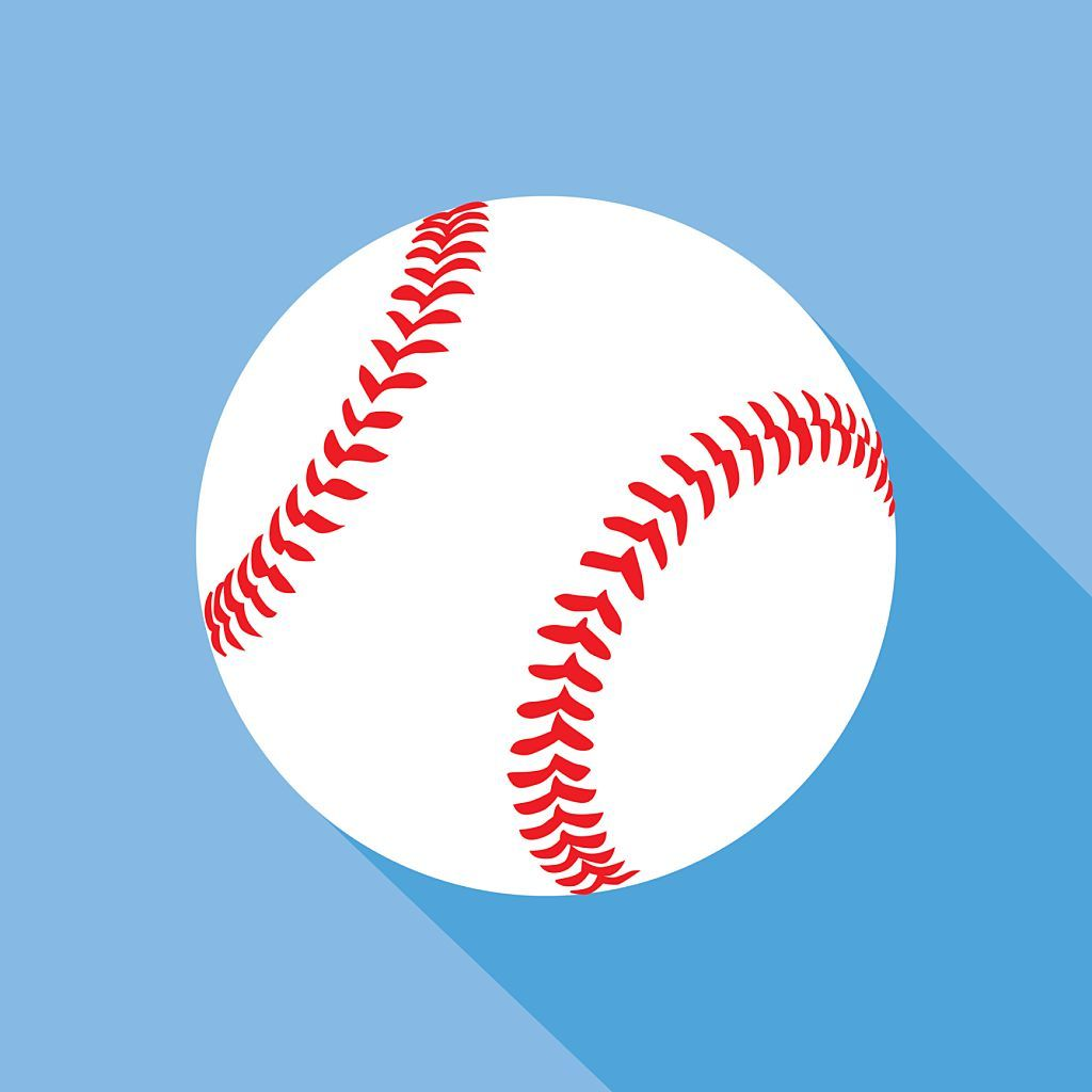 Photo of Vector illustration of a baseball with shadow on a blue background.
