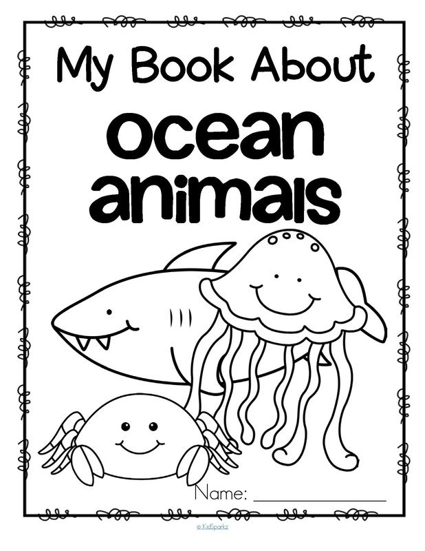 Jellyfish Animal Coloring Pages. Set of 12 activity pages about ocean animals  Jellyfish octopus dolphin fish
