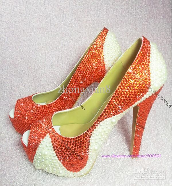54439547bcf1dd Wholesale WOMENS HIGH HEEL SHOES Orange SWAROVSKI CRYSTAL with Ivory Pearls  FORMAL PUMPS BRIDAL DRESS SHOES