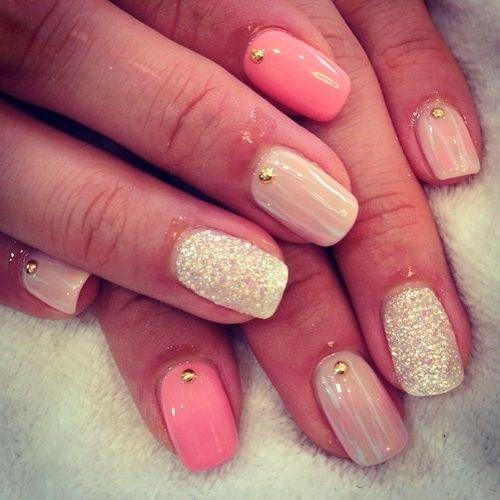 manucure roses et paillettes ongles ongles vernis manucure et manucure blanche