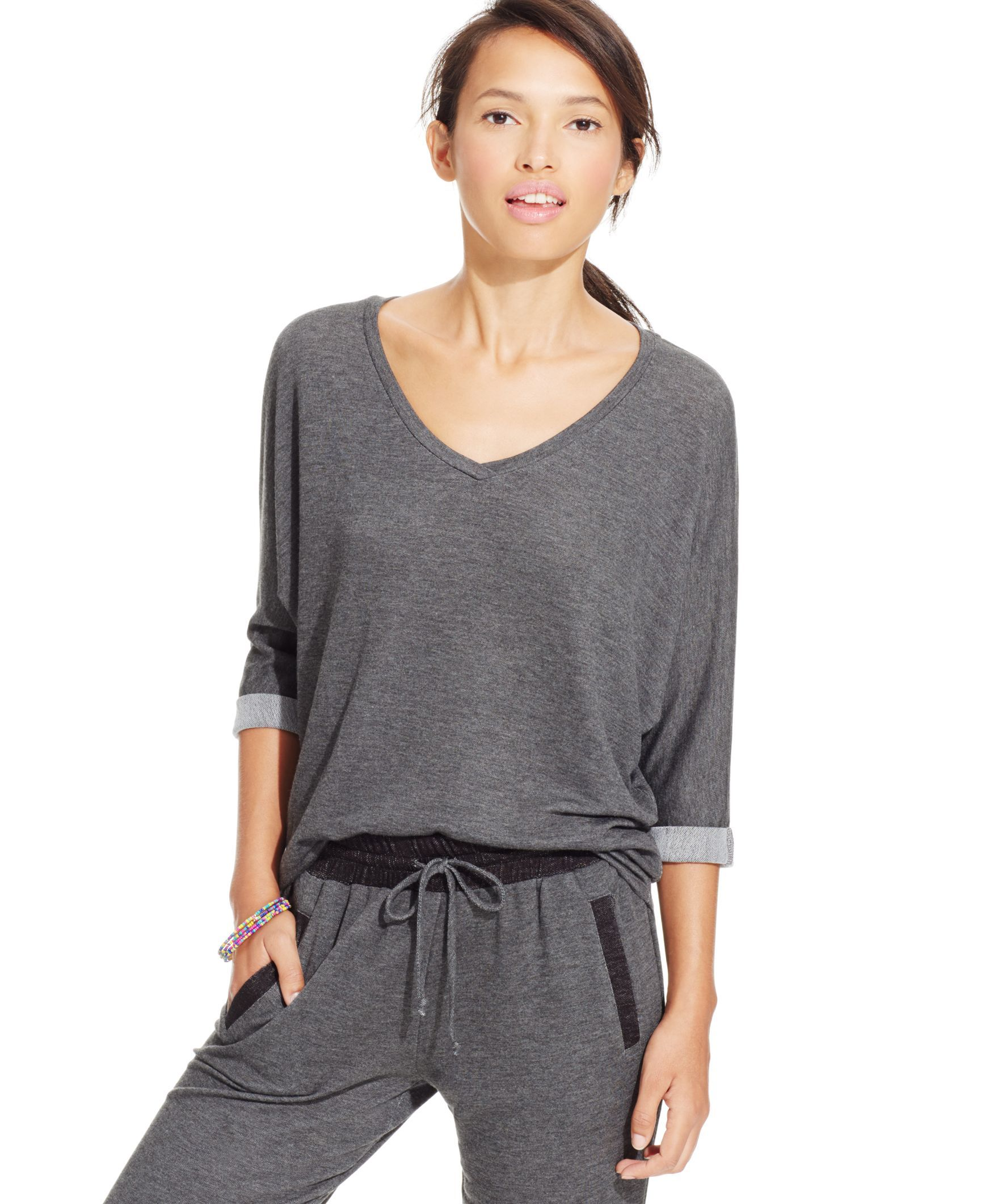 937fd417 Celebrity Pink Juniors' Three-Quarter-Sleeve V-Neck Top   Products ...
