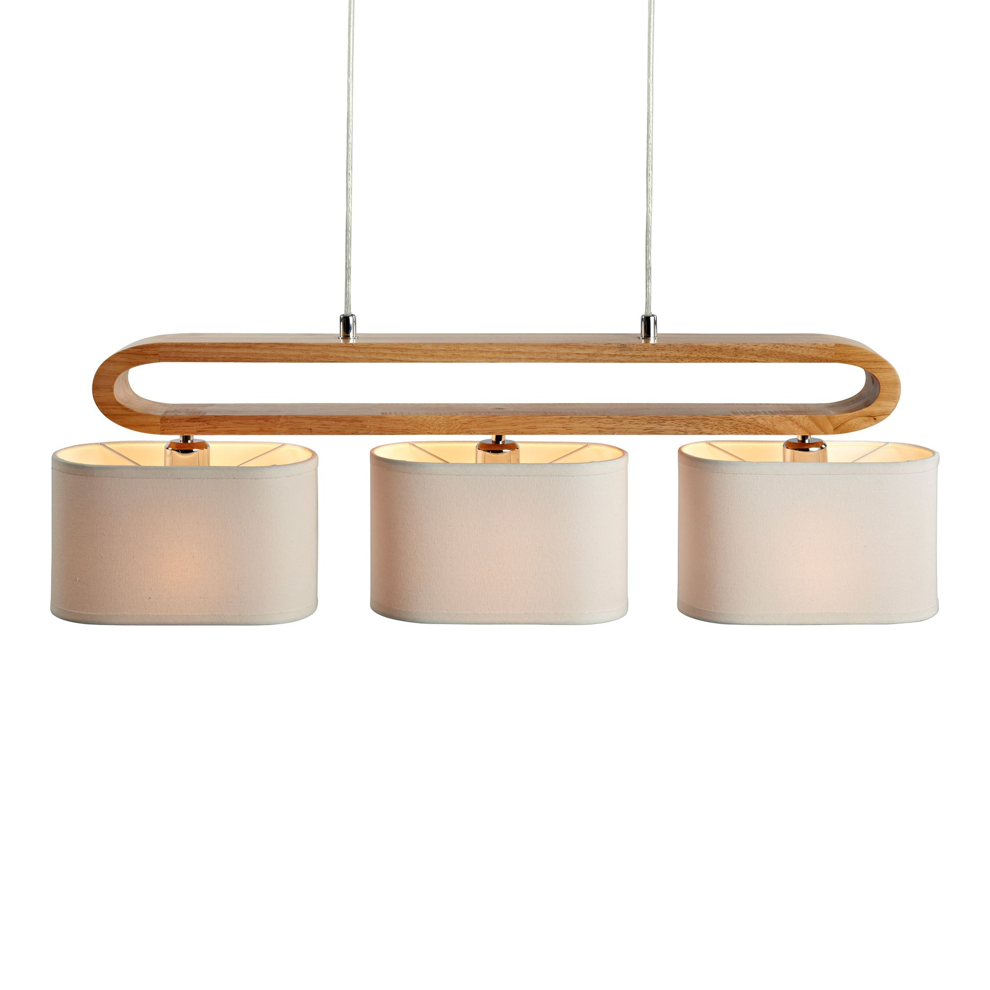 Suspension barre 3 lumi res en bois et abat jour tissu for Suspension 3 lumieres