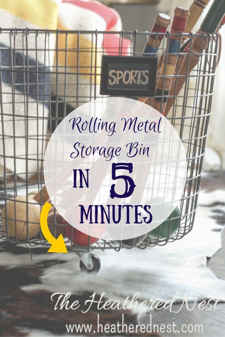 Rolling Wire Storage Bin in 5 Minutes, NO TOOLS NEEDED! http://www.heatherednest.com/2015/01/castrway.htmlCast'rway! | The Heathered Nest