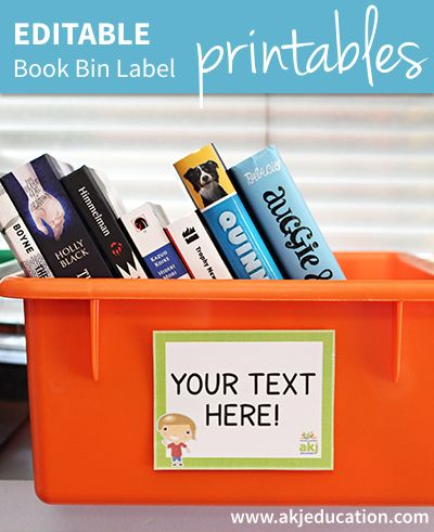 FREE Editable Book Bin Labels from AKJ Education Giveaways and