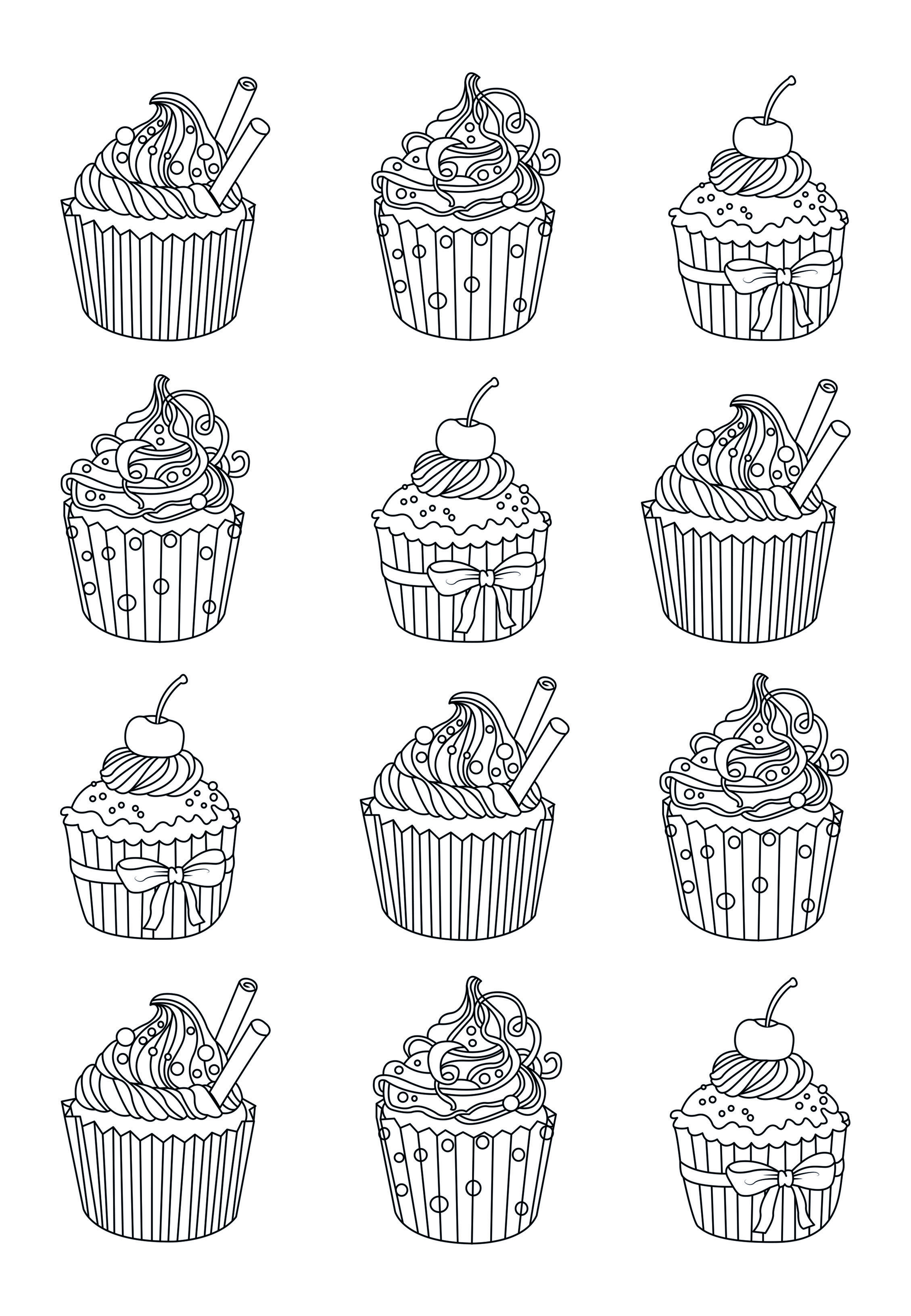 Yum Yum Many Coloring Page Easy To Colors And Eat From The Gallery Cup Cakesartist Cel Cupcake Coloring Pages Food Coloring Pages Easy Coloring Pages
