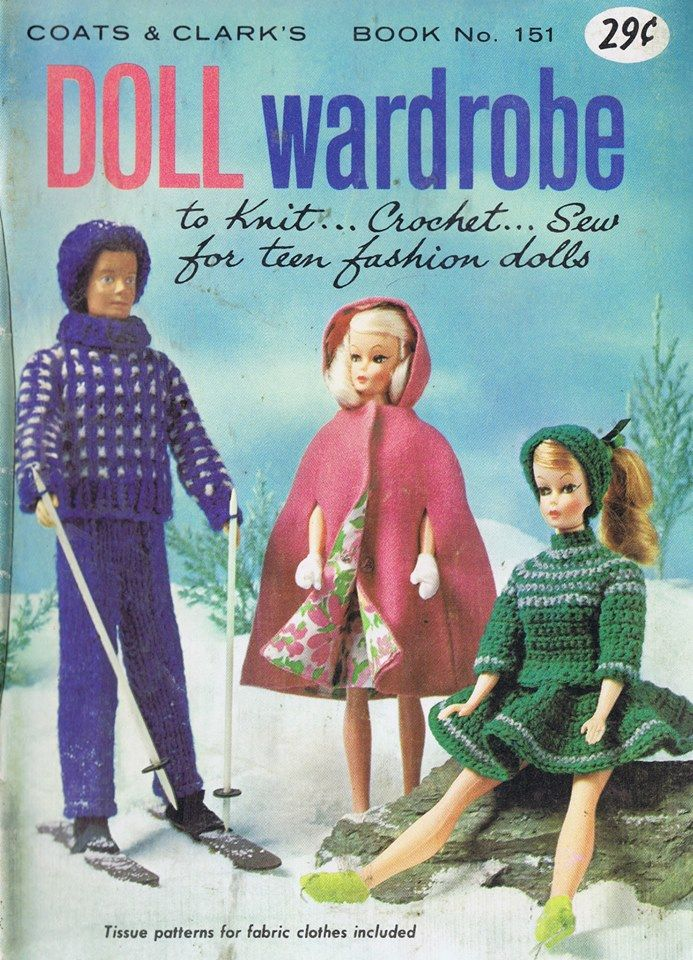 Vintage Fashion Doll Free Patterns to Knit Crochet and Sew | Barbie ...