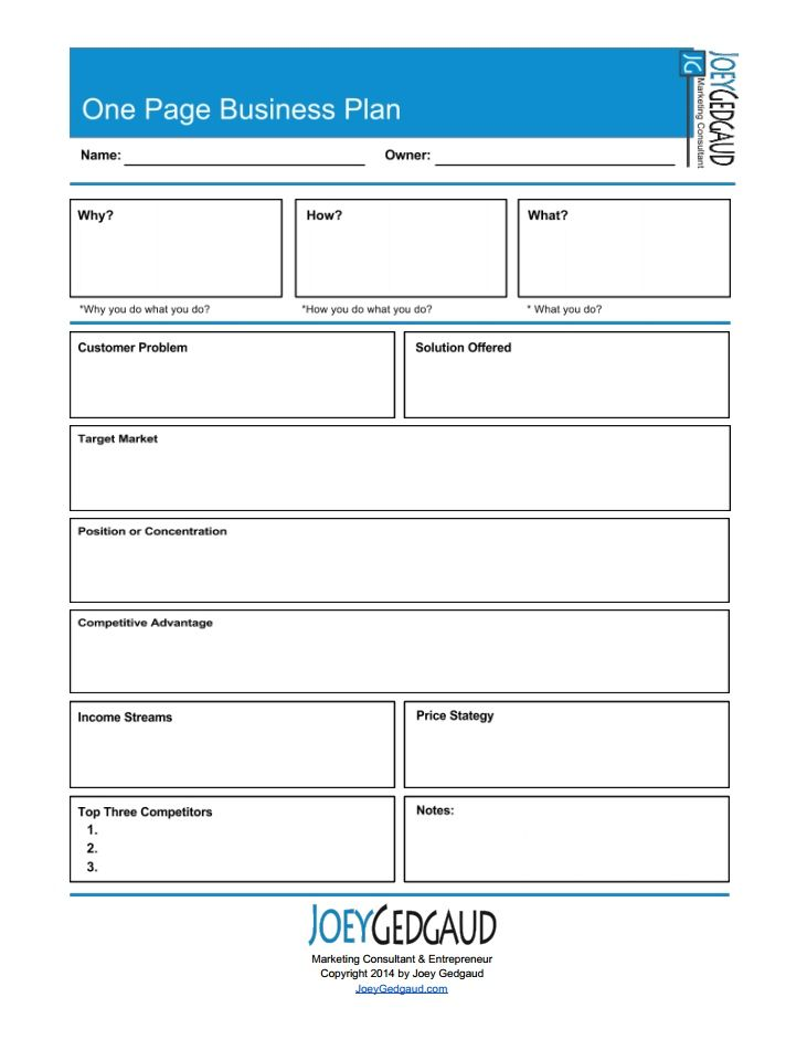 One Page Business Templates And Free Downloads Download PDF Of - One page business plan template free