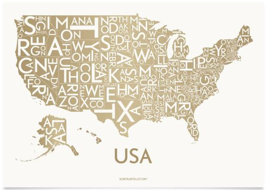 Scandinavian home decor map of the United States - from Kortkartellet