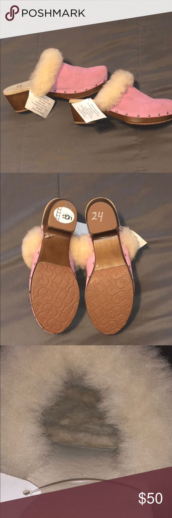2b4b2a1fbb Kids Pink clogs Uggs with fur