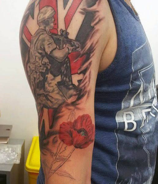75 Poppy Tattoo Designs For Men - Remembrance Flower Ink
