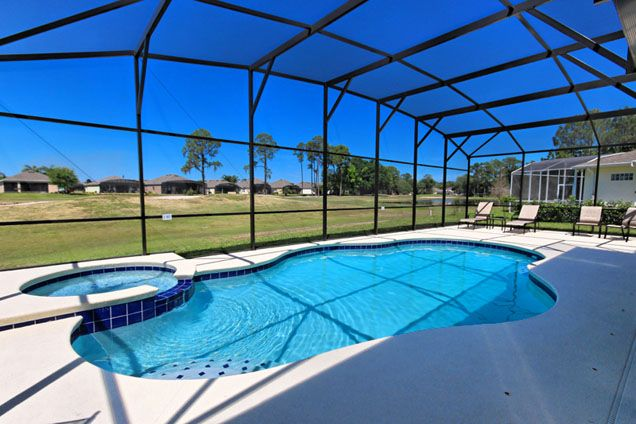 4 Bed Ridgewood Lakes Golf Coures Home (1224-RID) Large Pool area with stunning views over the golf course.  #ridgewoodlakes #floridavillas