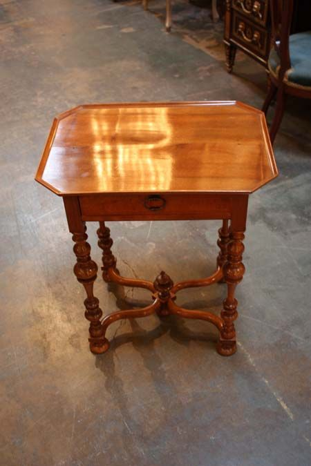 """Beautiful antique French Walnut side table with vide pouche gallery and nice patina. This is a late nineteenth century reproduction done in Louis XIII style. Measurements are 23.5"""" wide, 17"""" deep, and 27"""" tall. Our retail price is 1,600.00."""