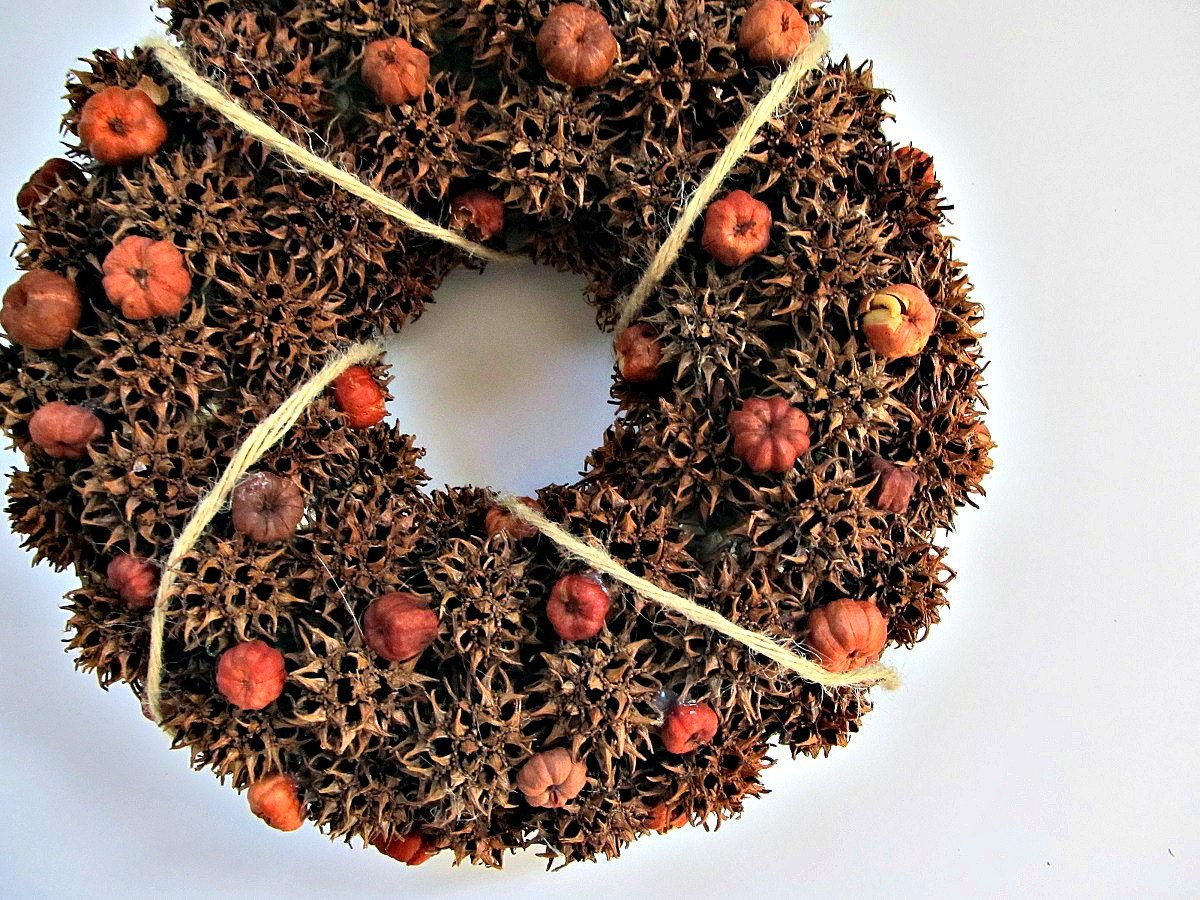 Sweet Gum Ball and Pumpkin Pod Wreath / Candle by