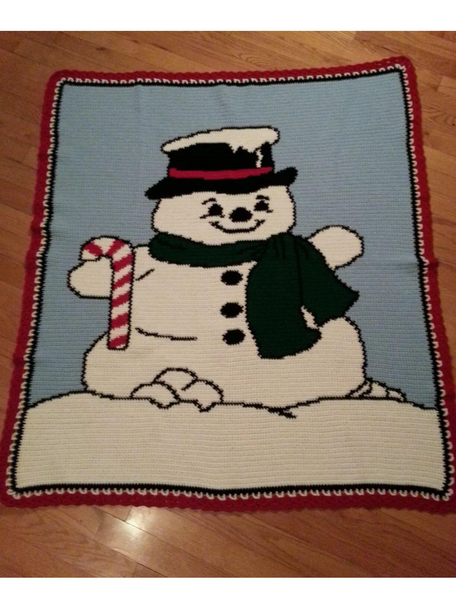 Crochet Snowman Afghan | Tejer para Navidad | Pinterest | Mantas ...