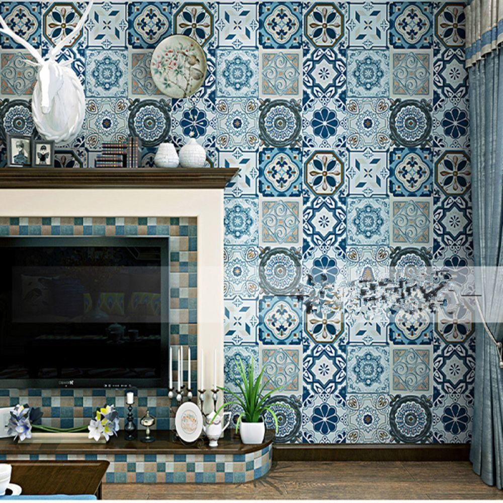 Bohemia Wallpapers Blue Faux Tin Ceiling Tile 3D Wall