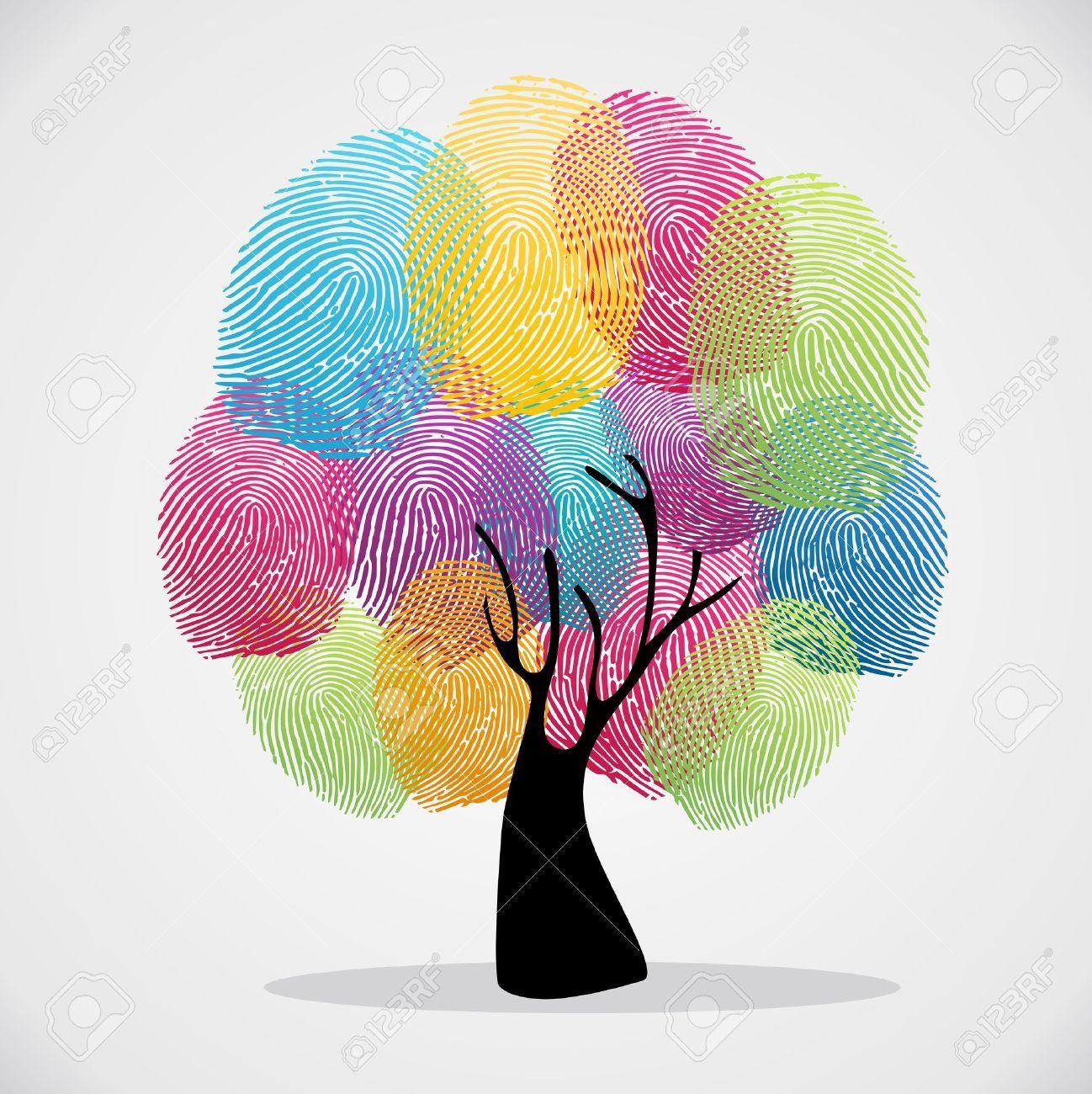 Diversity color tree finger prints illustration background set...