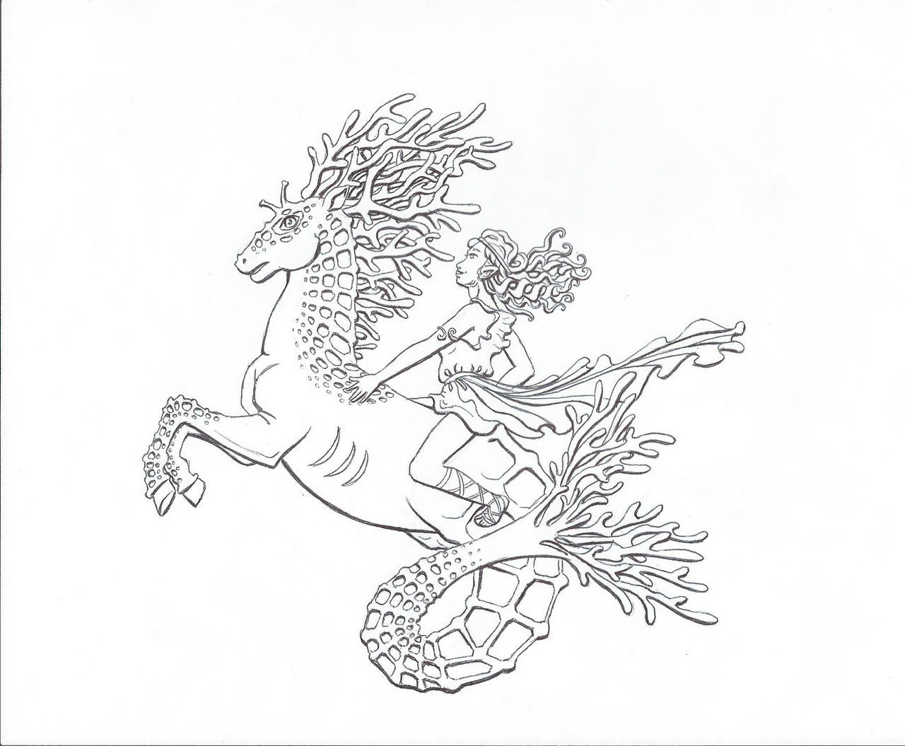 Hippocampus Rider Lineart By Xylinthia On Deviantart Coloring Pages Coloring Book Pages Coloring Books