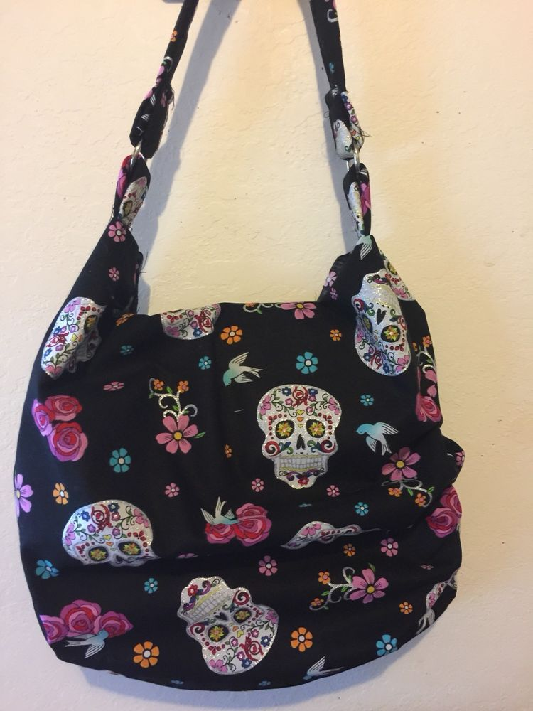 Sugar Skull handbag Goth Day Of The DeAd Shoulder Slouch Handcrafted   Handmade  ShoulderBag 7dc80c1238996