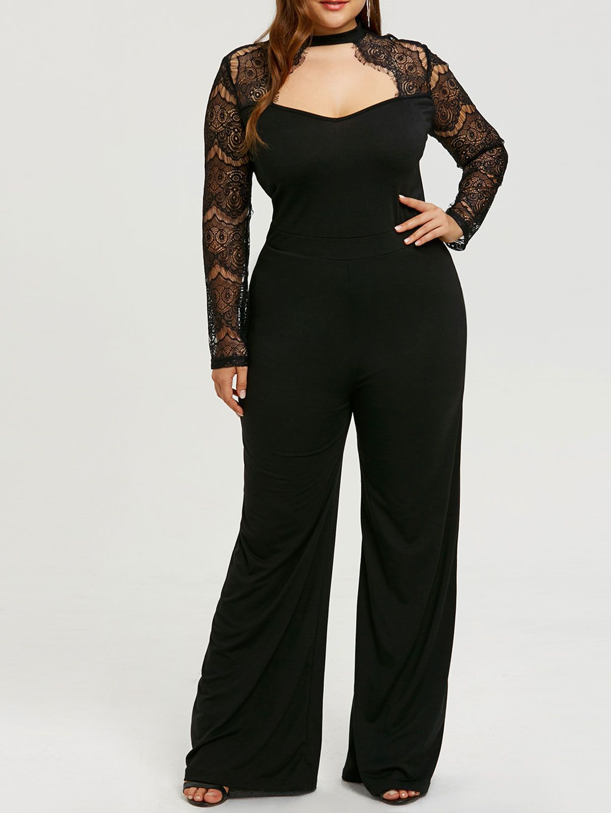 f9fa2041d526 Plus Size Xl-5Xl Women Rompers Jumpsuit Pants Tops Lace Sleeve Cut Out  Casual