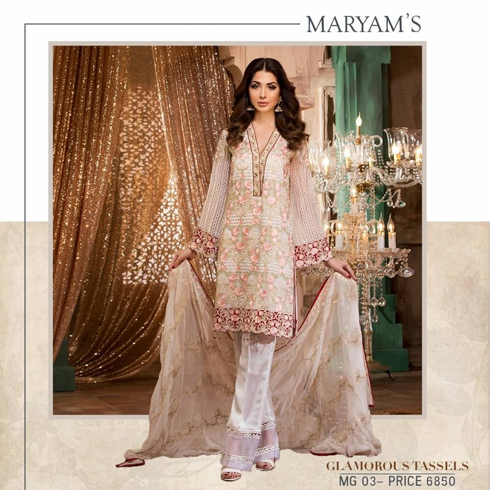 a9e282f803 Maryam's Gold Embroidered Chiffon Collection 2018 - PK Vogue   1000 ...