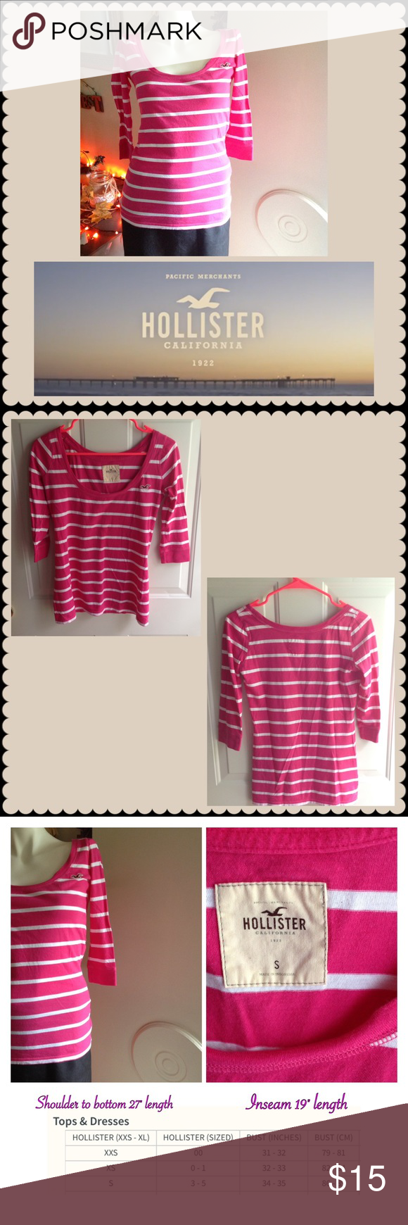 Hollister Classic Pink & white top 100% cotton material