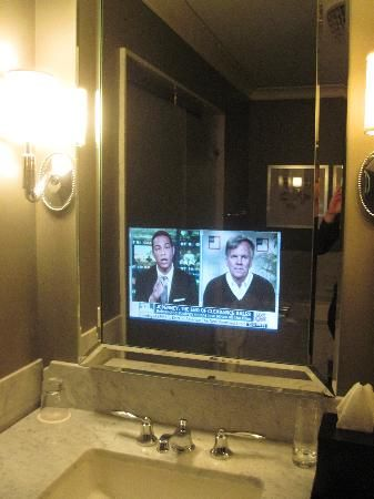 TV In Bathroom Mirror...I Saw This A While Back And Thought: Genious! (Only  Thing: My Husband CANNOT Find Out!!!) | My Future Casa | Pinterest |  Bathroom ...