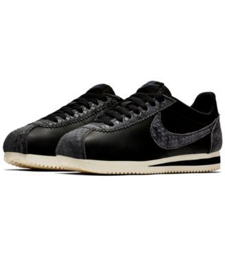Nike Women's Classic Cortez Premium Casual Sneakers from Finish Line -  Black 8