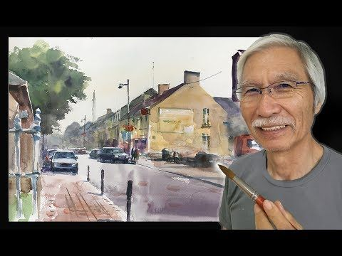 Eng Sub Watercolor Tutorial How To Paint The Small Town 水彩画