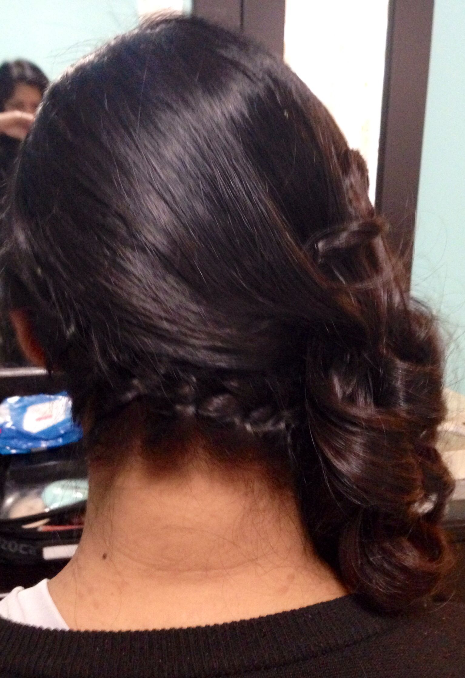 side french braid hairstyle, side swept with curls wedding