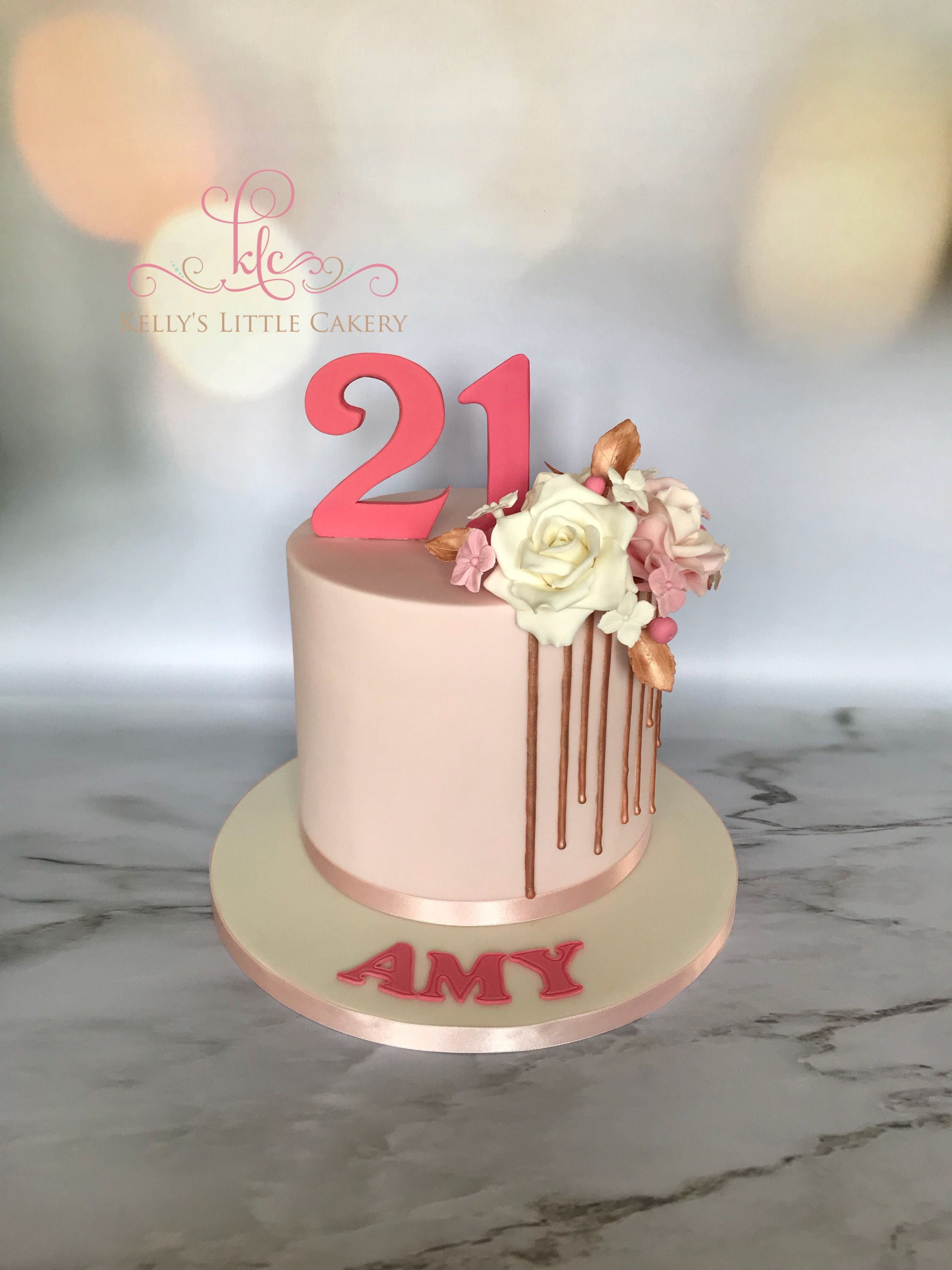 Cool 21St Birthday Cake Partial Rose Gold Drip Pastel Pink Sugar Funny Birthday Cards Online Chimdamsfinfo