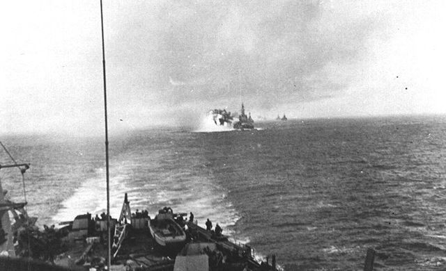 Battleship USS Massachusetts bombarding Kamaishi, Iwate, Japan, 9 Aug 1945.