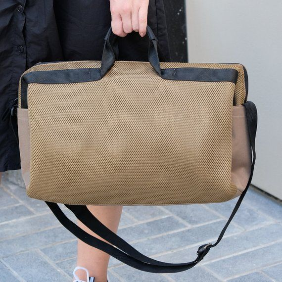 Khaki Laptop Bags For Women Vegan Office Shoulder Bag