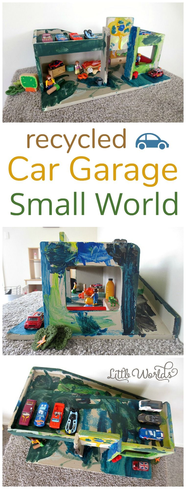Turning trash into treasure: how to recycle and upcycle a toy car garage into a garage small world. | Little Worlds Big Adventures #car #garage #smallworldplay #smallworld #upcycled #kidsactivities