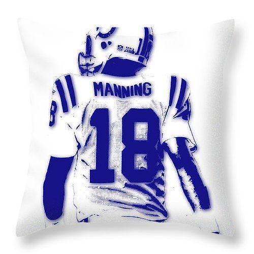 "Peyton Manning Colts 2 Throw Pillow 14"" x 14"" by Joe Hamilton"
