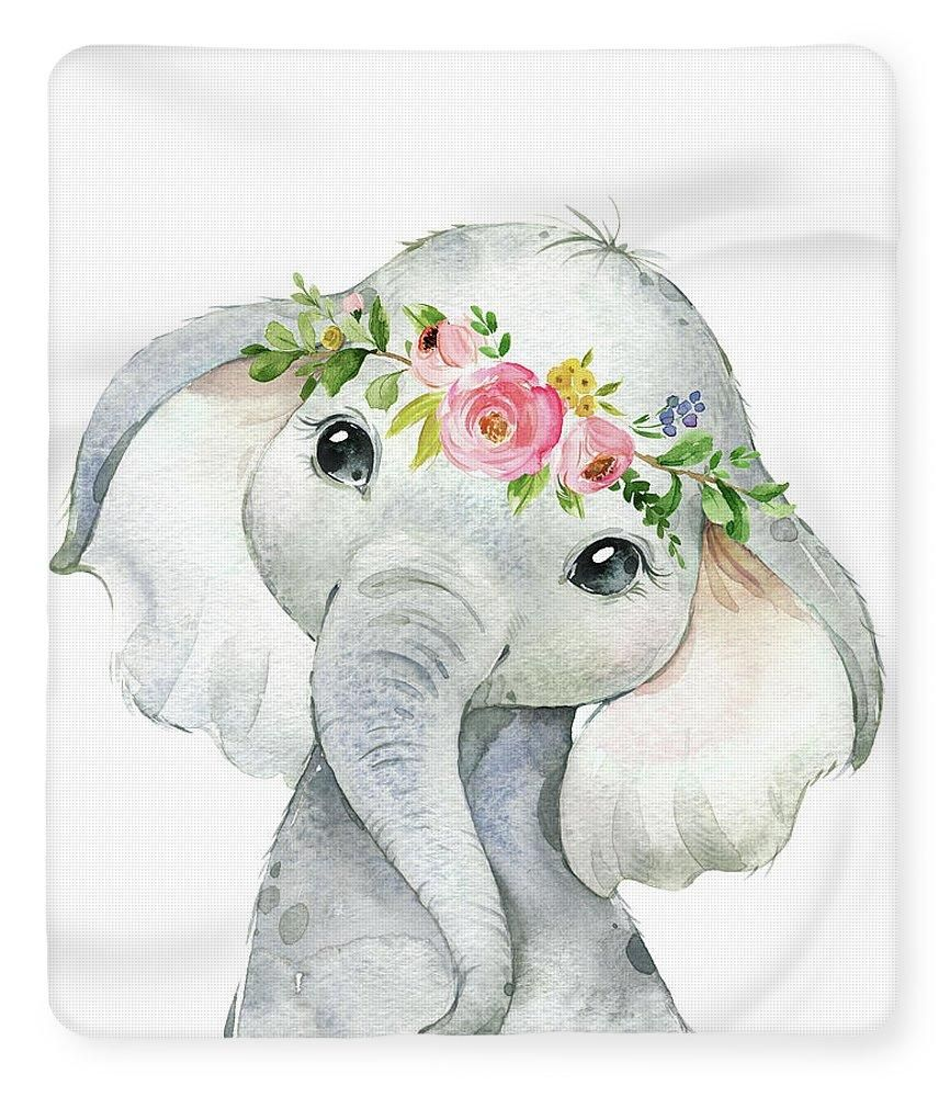 Boho Elephant Blanket Fleece Sherpa Watercolor Baby Nursery Girl Room – Pink Forest Cafe