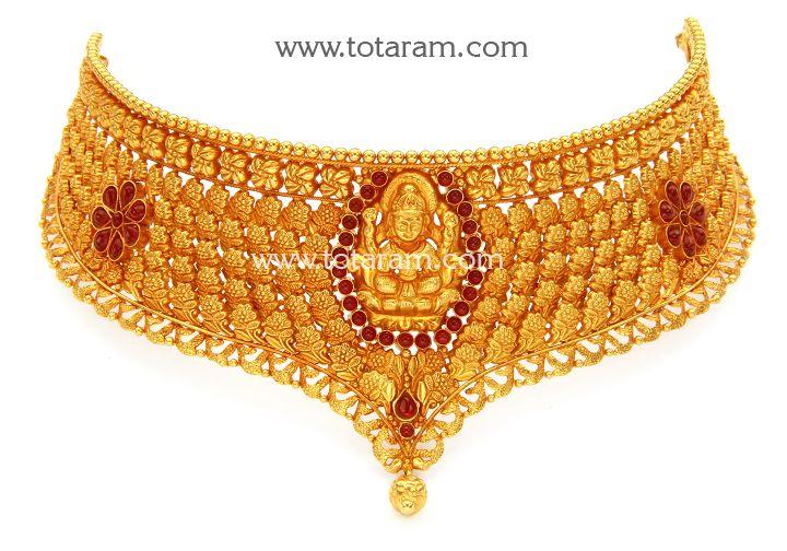 22K Gold Lakshmi Choker Temple Jewellery