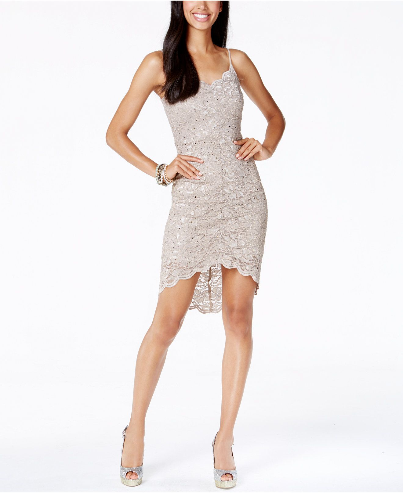 Jump Juniors' Sequin Lace High-Low Sheath Dress - Juniors Dresses - Macy's