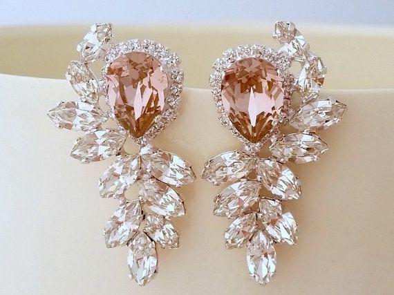 Blush pink earrings,Bridal earrings,blush pink chandelier earrings,Extra large stud earrings,Swarovski earrings,cluster earrings,statement