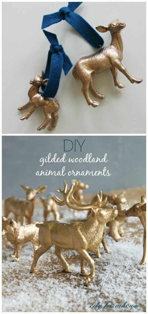 Diy Gilded Woodland Animal Ornaments Christmas Centerpieces Gold Christmas Decorations Woodland Christmas