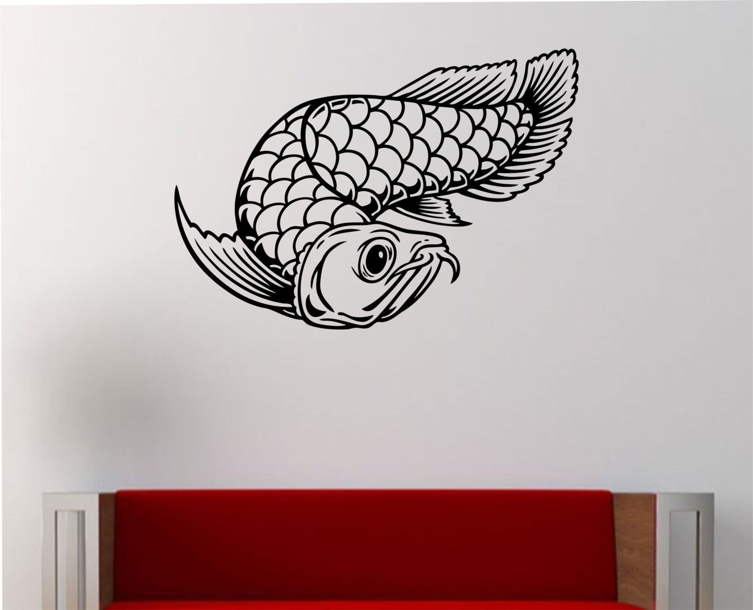 asian arowana fish wall decal vinyl sticker art decor bedroom asian arowana fish wall decal vinyl sticker art decor bedroom design mural interior design japanese japan goodluck animals